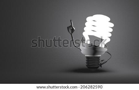 Glowing fluorescent light bulb character with big metallic hands in moment of insight on gray textured background - stock photo