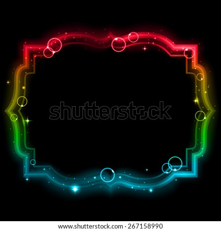 Glowing frame on a black background. - stock photo