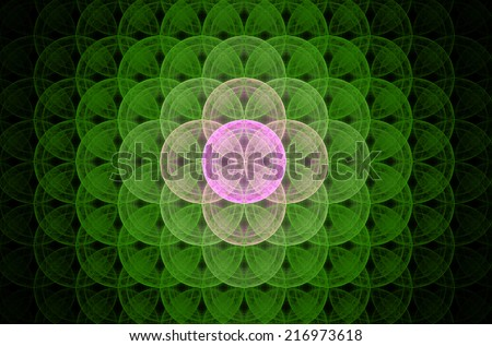 Glowing green abstract fractal background with a detailed decorative flower of life pattern spreading from the center which is in shining pink color, all against black color. - stock photo