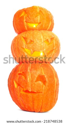 Glowing Halloween Pumpkins isolated on white background - stock photo