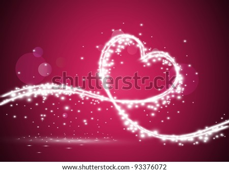 Glowing Heart formed of shiny lights in curved line, illustration