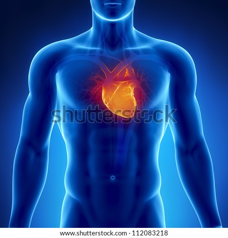 Glowing heart in male chest     **** Also as footage available in my portfolio - stock photo