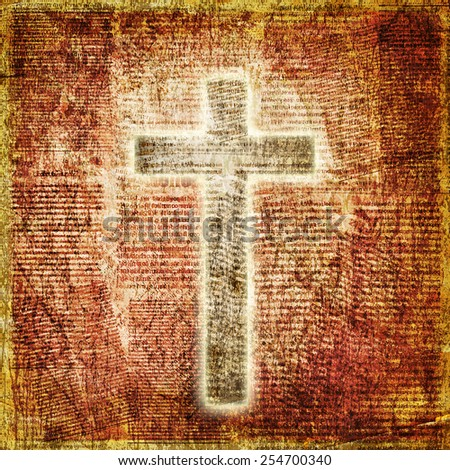Glowing holy cross on abstract paper background - stock photo