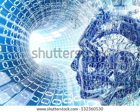 Glowing internet cable with cyber man - stock photo