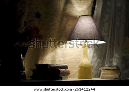 Glowing lamp and old books with impressionistic effect - stock photo