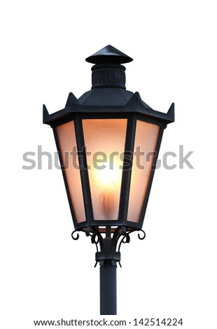 Glowing lantern isolated on white background, San Marino (Italy) - stock photo