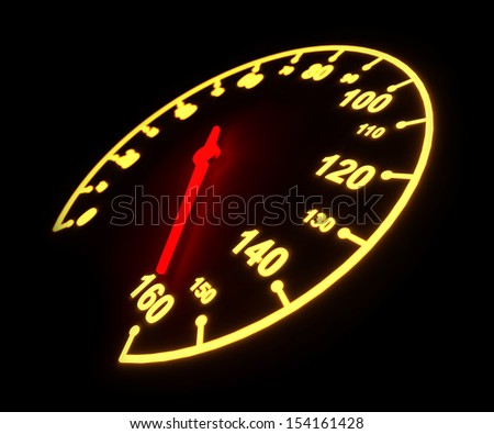 Glowing light automobile speedometer dial isolated on black background. - stock photo