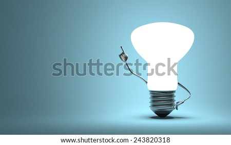 Glowing light bulb character in aha moment on blue background - stock photo