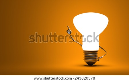 Glowing light bulb character in aha moment on orange background - stock photo