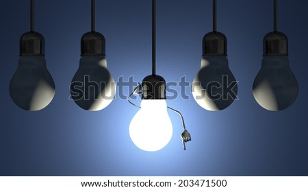 Glowing light bulb character in lamp socket on wire in moment of insight among many switched off light bulbs on blue textured background - stock photo