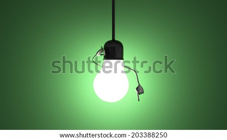 Glowing light bulb character in lamp socket on wire in moment of insight on green textured background