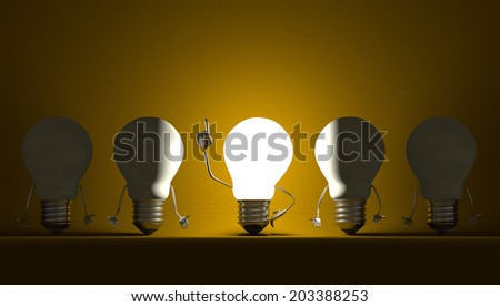 Glowing light bulb character in moment of insight among switched off ones on yellow textured background