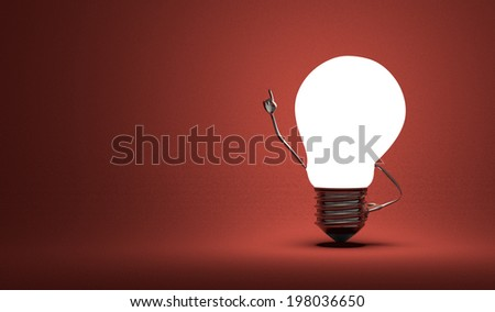 Glowing light bulb character in moment of insight on dark red textured background - stock photo