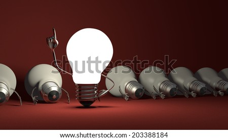 Glowing light bulb character in moment of insight standing among many switched off lying ones on red textured background