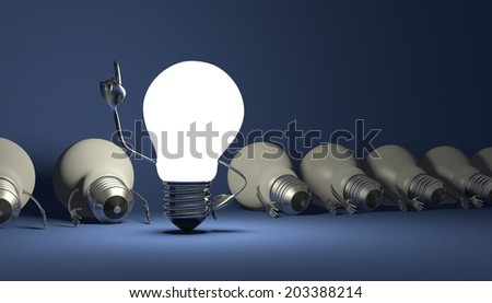 Glowing light bulb character in moment of insight standing among many switched off lying ones on blue textured background - stock photo