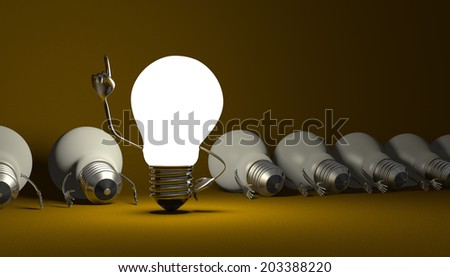 Glowing light bulb character in moment of insight standing among many switched off lying ones on yellow textured background