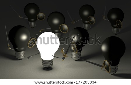Glowing light bulb fighting against many black ones with swords and shields on dark gray textured background