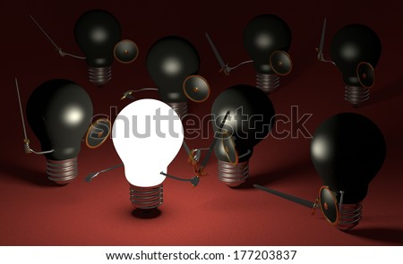 Glowing light bulb fighting against many black ones with swords and shields on dark red textured background
