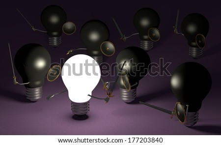 Glowing light bulb fighting against many black ones with swords and shields on dark violet textured background