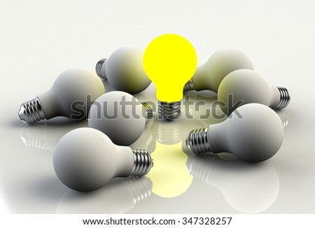 Glowing light bulb isolated on white