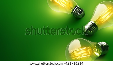 Glowing light bulb on green background - 3D Rendering - stock photo