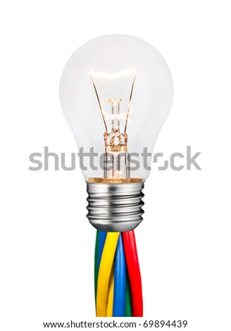 Glowing Lightbulb Attached to Colored Cables Isolated on White Background. Ordinary Switched On Screw Lightbulb Over White