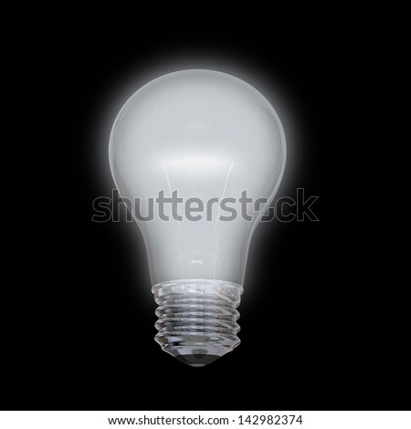Glowing lightbulb illustration isolated on black background