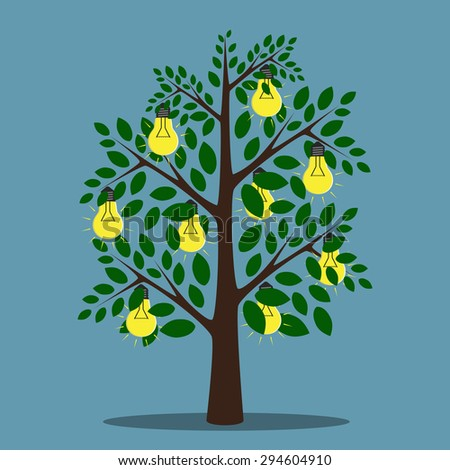 Glowing lightbulbs hanging on tree with green leaves, creativity, insight, inspiration concept - stock photo