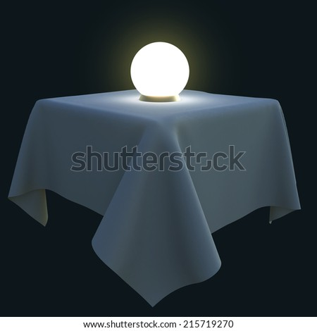 Glowing magic ball on a square table. 3d illustration isolated on black background. - stock photo