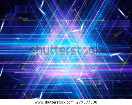 Glowing multicolored triangle, computer generated abstract background - stock photo