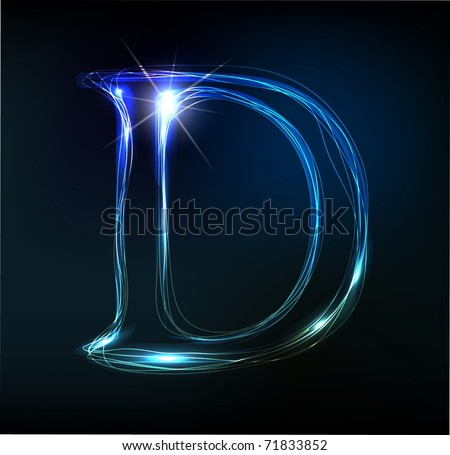 Glowing neon font. Shiny letter D