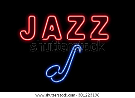 Glowing neon jazz sing on black background