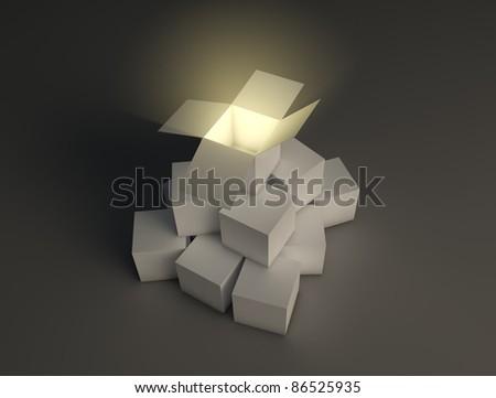 Glowing open box - stock photo