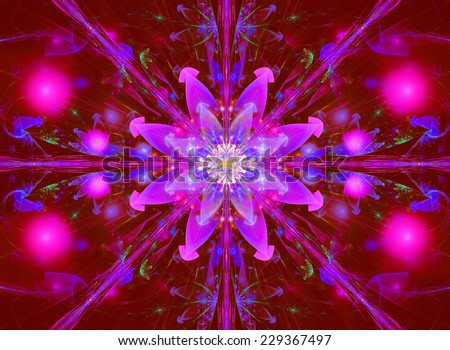 Glowing pink and purple abstract high resolution wallpaper with a detailed modern exotic vivid and shining flower in the center and a detailed pattern with beams, orbs and ornaments