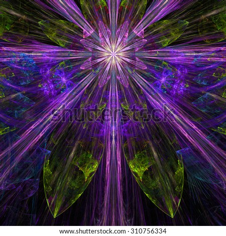 Glowing pink,purple,green,yellow exploding flower/star fractal background with a detailed decorative pattern, all in high resolution. - stock photo
