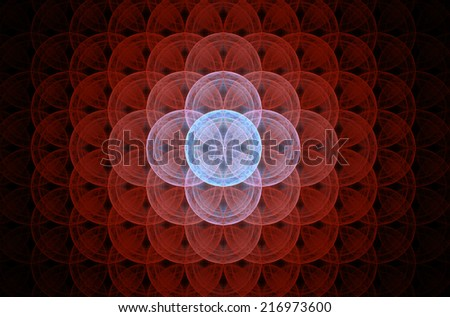 Glowing red abstract fractal background with a detailed decorative flower of life pattern spreading from the center which is in shining pink and blue colors, all against black color. - stock photo