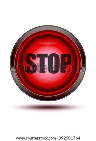 Glowing red light from traffic signal on isolated white background with the word STOP in the middle of it. - stock photo