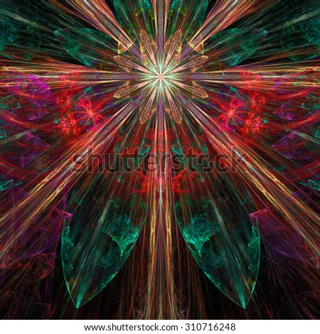 Glowing red,pink,orange,green exploding flower/star fractal background with a detailed decorative pattern, all in high resolution. - stock photo