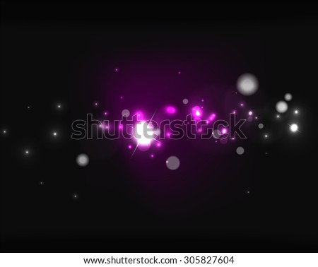 Glowing shiny bubbles and stars in dark space.  illustration. Abstract background