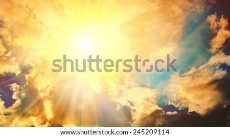 glowing sky with sun instagram stile - stock photo