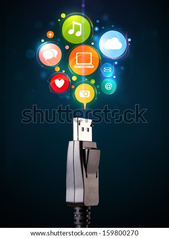 Glowing social media icons coming out of electric cable - stock photo