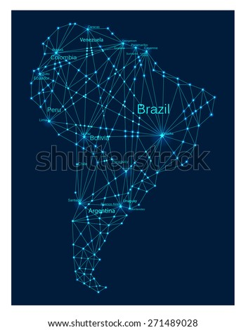 Glowing South America continent map. Molecule structure stylized design. Raster illustration