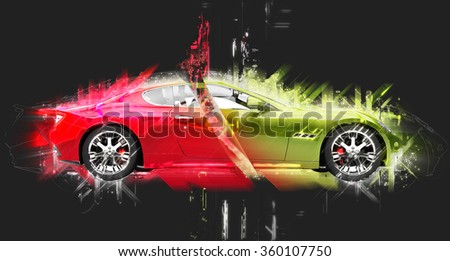 Glowing Sports Car - stock photo