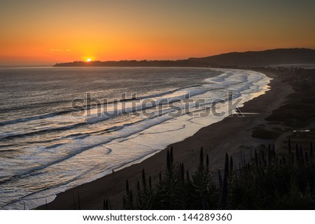 Glowing Sunset on Bolinas Bay, Stinson Beach, California Title: Stinson Beach Sunset, California - stock photo