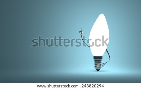 Glowing torpedo light bulb character in aha moment on blue background - stock photo