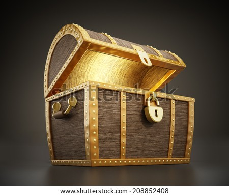 Glowing treasure chest full of treasures - stock photo