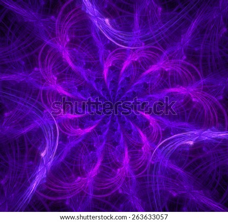 Glowing triangular spiral flower background in high resolution in glowing pink and purple