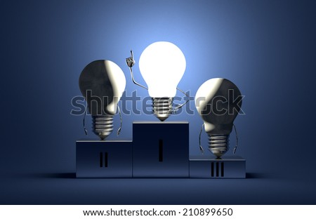 Glowing tungsten light bulb character in moment of insight and two switched off ones on podium on blue textured background - stock photo