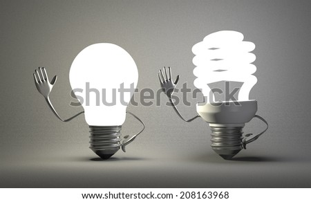 Glowing tungsten light bulb character waving hand and fluorescent one on gray textured background