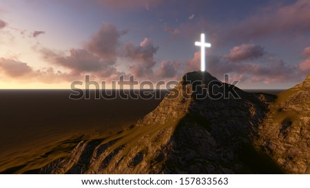 glowing wooden cross   made in 3d software